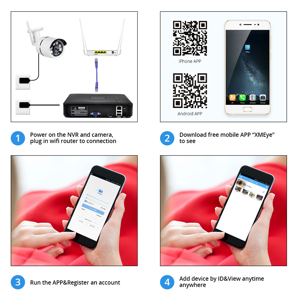 Image 5 - FUERS 4Ch NVR WIFI Video Surveillance System CCTV Security Camera System Kit 720P IR CUT Outdoor IP Camera CCTV WIFI System-in Surveillance System from Security & Protection