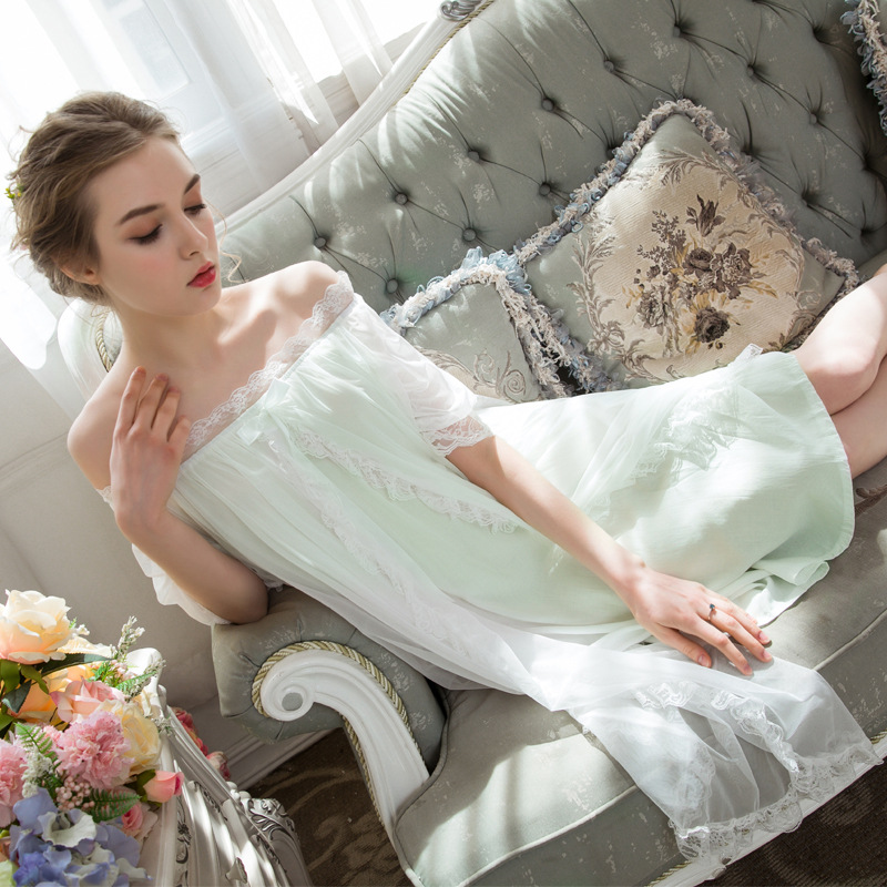 European Nightgown Women Palace Vintage Lace Princess Style Slip <font><b>Dress</b></font> Medieval <font><b>Dress</b></font> <font><b>Night</b></font> <font><b>Dress</b></font> Soft Cute <font><b>Sexy</b></font> Sleepwear image