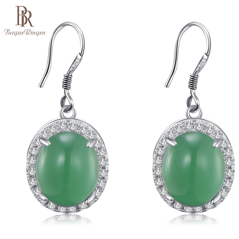 Bague Ringen Silver 925 Drop Earrings With Green Oval Jade Gemstone Jewelry Vintage Woman Anniversary Party Wholesale Gift