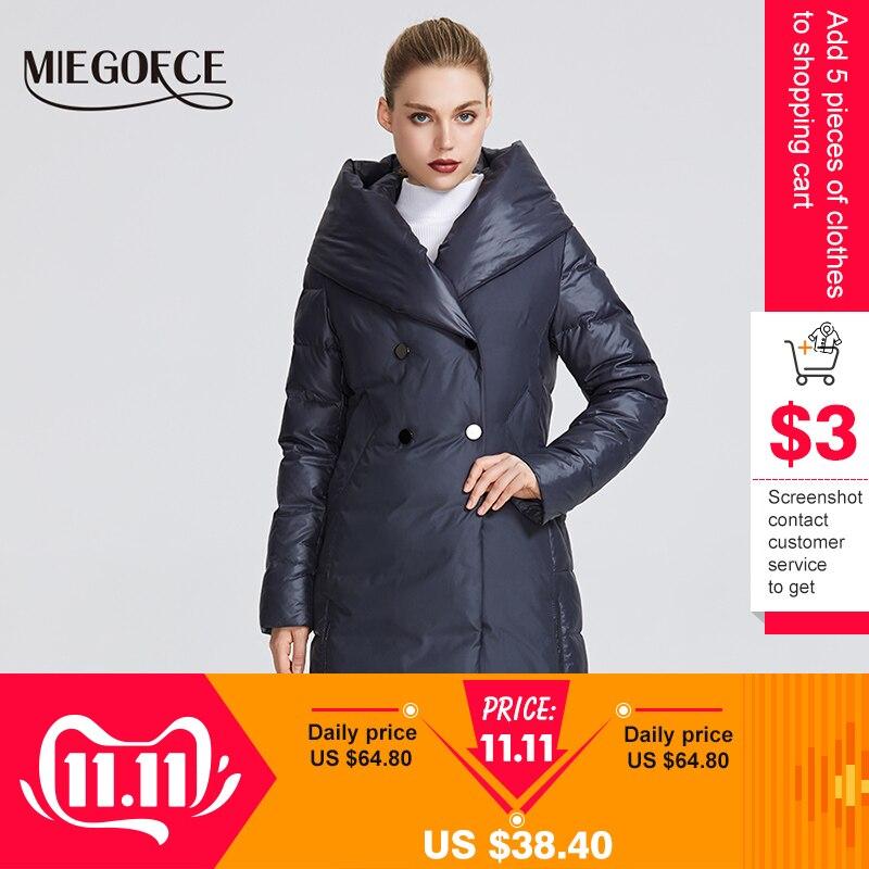 MIEGOFCE 2019 nouvelle Collection hiver femmes veste d'hiver manteau Design inhabituel cousu à partir de deux matières Parkas pour femmes