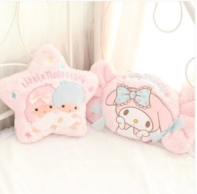 Kawaii Cartoon Pillow My Melody Candy Little Twin Star Shape Plush Soft Back Cushion Creative Sofa Bed Decoration Stuffed Dolls