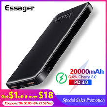 Essager 20000mAh Power Bank Quick Charge 3.0 USB C PD Fast Mini 20000 mAh Powerbank For Xiaomi Portable Charger External Battery full mirror portable charger iphone quick charge power bank 20000mah powerbank for samsung huaweidaul usb type c technology