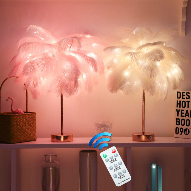 Remote Control Feather Table Lamp USB/AA Battery Power DIY Creative Warm Light Tree Feather Lampshade Wedding Home Bedroom Decor 1