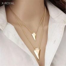 X-ROYAL European Fashion Luxury All-Match Women Geometric Necklaces Classic Triangle Arrow Pendant Collar Chain Sweater Chokers