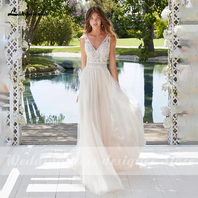 Boho Lace Wedding Dress 2021 Sleeveless Appliqued Beach Bride Dress A-Line Tulle Bride Wedding Gowns for Women vestido de novia 5