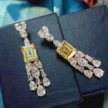 OEKDFN Vintage 100% 925 Sterling Silver Drop Earrings For Women Sparkling Citrine Zircone Gemstone Fine Jewelry Dangle Earrings