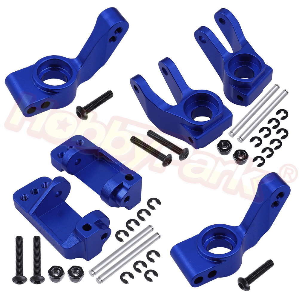 Front & Rear Aluminum Steering Knuckle Kit Set Hub Carrier For 1/10 Traxxas Slash 2WD / Stampede 2WD / Rustler VXL Upgrade Parts