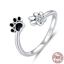 Black Silver 925 Sterling Enamel Dog Paw Open Adjustable Finger Rings for Women Anti-allergy Jewelry Accessories(China)