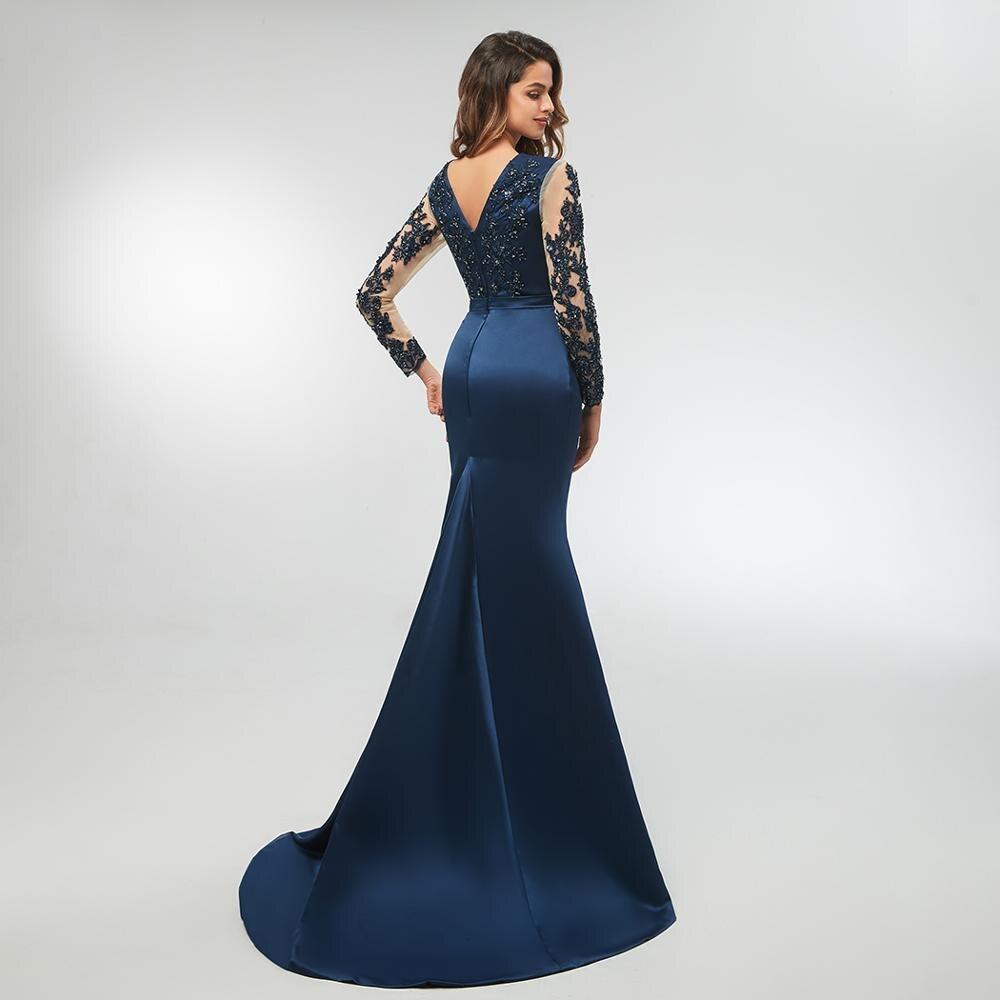 US $10.10 10% OFFNavy Blue High Neck Spitze Mermaid Party Kleider 10 Long  Sleeves Appliqued Abendkleider Lange Prom Kleid vestido longo festagown