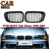 MagicKit NEW Pair Matte Black Car Front Kidney Sport Grill Racing Grilles For BMW 3 Series E46 M3 2D Coupe Convertible 1999 2001