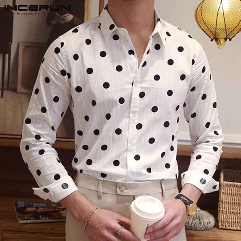 INCERUN Fashion Polka Dot Print Men Dress Shirt Button Cotton Long Sleeve Breathable Casual Brand Shirts Men Camisa Streetwear