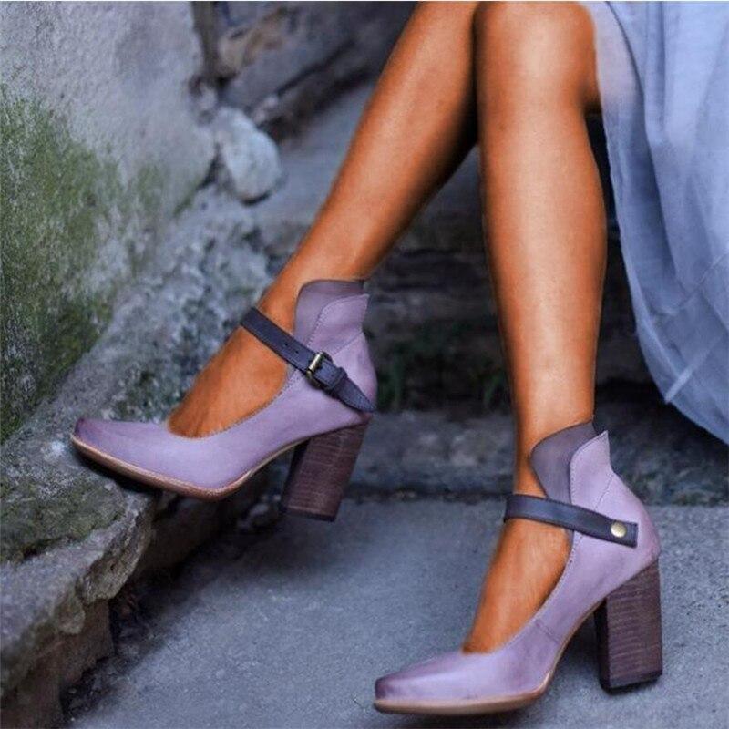 2019 Модная обувь на высоком каблуке Новейшие женские ботинки; Летние женские туфли на толстом каблуке Туфли-лодочки с ремешком; Обувь на плат...
