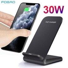 Беспроводное зарядное устройство Qi, 30 Вт, подставка для iPhone 12 11 Pro XS MAX XR X 8 Samsung S21 S20 S10 S9, док-станция для быстрой зарядки, зарядное устройство д...