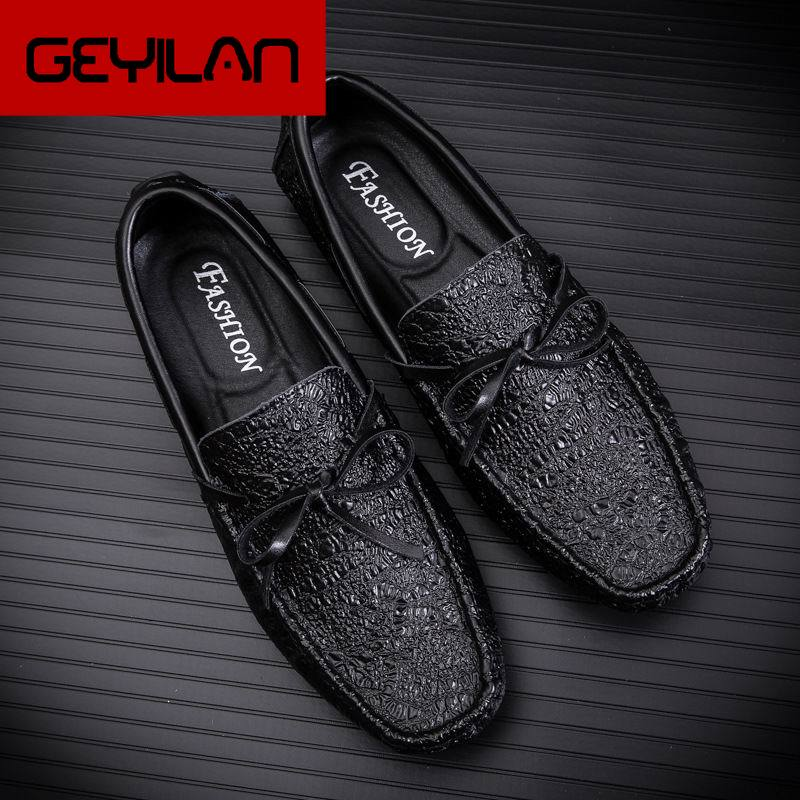 Designer Luxury Fashion Men's Black Loafer Shoes Crocodile Pattern Trending Leisure Shoes For Man Driver Moccasin Shoes 44