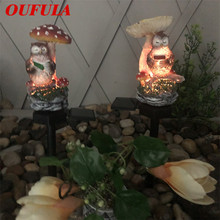 UFULA Solar Landscape Light Owl Ground Lamp Resin Crafts Garden Courtyard Holiday Decoration