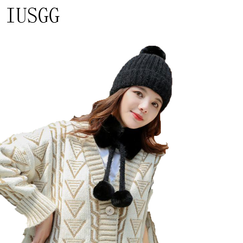 Knitted Hat Women Winter Warm 2pcs Cap And Scarf Ser Crochet Knit Warm Hat Pure Color Fluffy Ball Scarf Fur Har Pompoms Hats