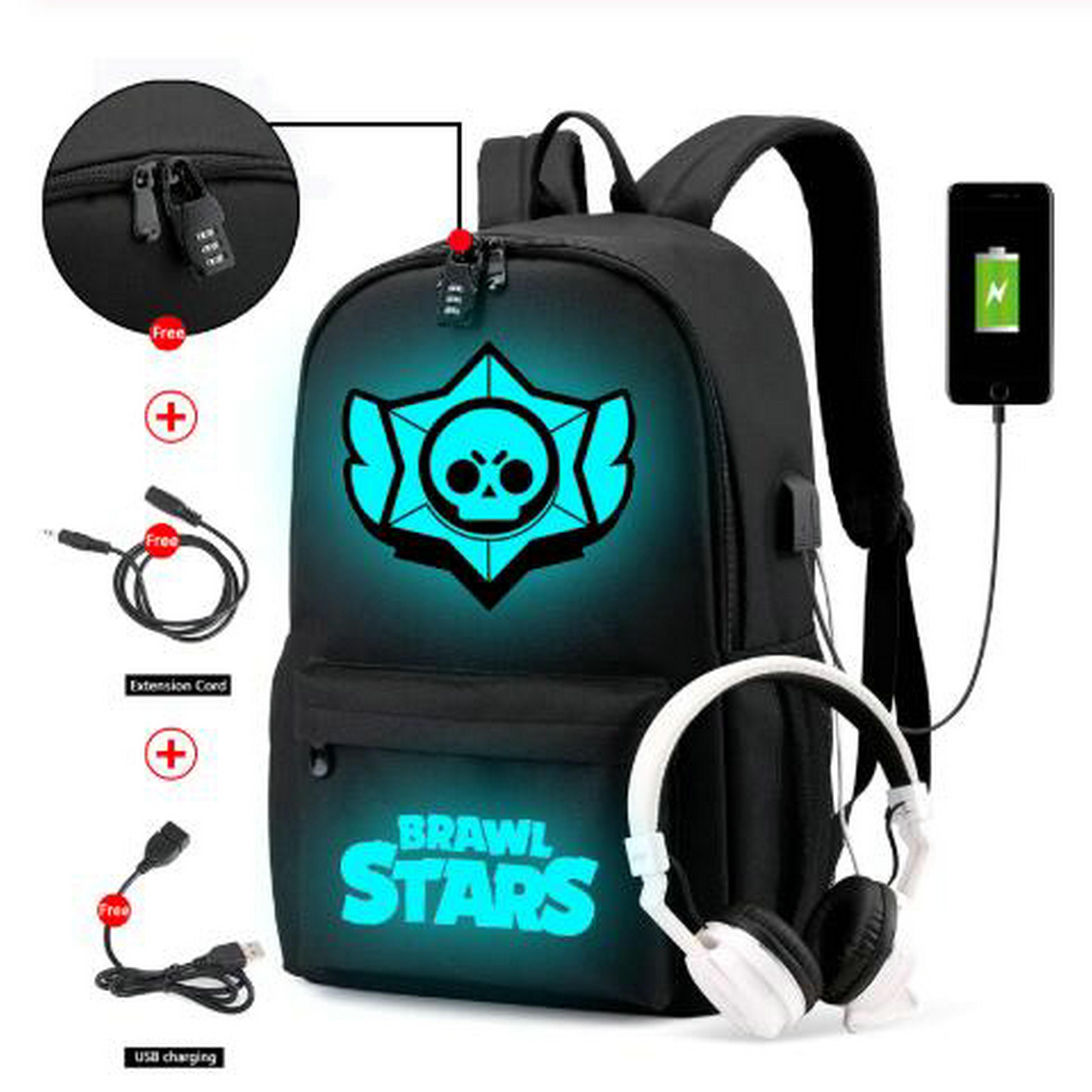 Brawl Stars Backpack Unisex Anti-theft Laptop Luminous Backpacks Fashion Nylon Waterproof Travel USB Charging Backpack
