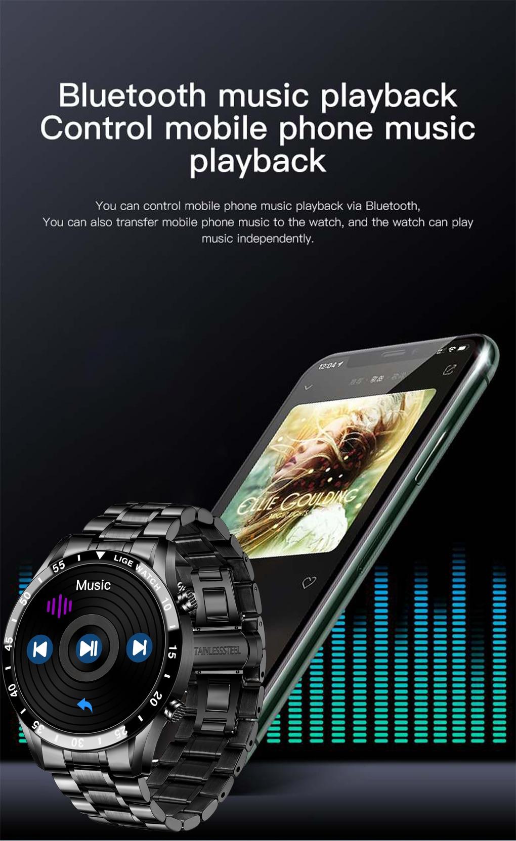 H6f8615ce48e14b6b98011ab8ab78d266m LIGE 2021 Full circle touch screen steel Band luxury Bluetooth call Men smart watch Waterproof Sport Activity fitness watch+box