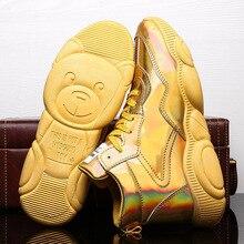 Fashion High Top Golden Casual Shoes Men Lace-up Joker simpl