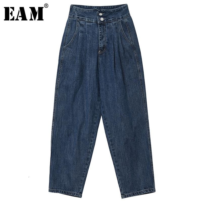 [EAM] Wide Leg Pleated Split Joint Long Leisure Jeans New High Waist Loose Women Trousers Fashion Tide Spring Autumn 2020 1K550
