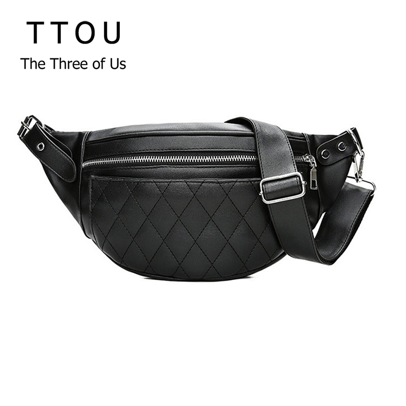 TTOU Classic Trendy Pu Leather Waist Packs Solid Fashion Women Shoulder Bags Black Design Bag Simple Casual Belt Bags