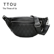 TTOU Classic Trendy Pu Leather Waist Packs Solid Fashion Women Shoulder Bags Black Design Bag Simple Casual Belt