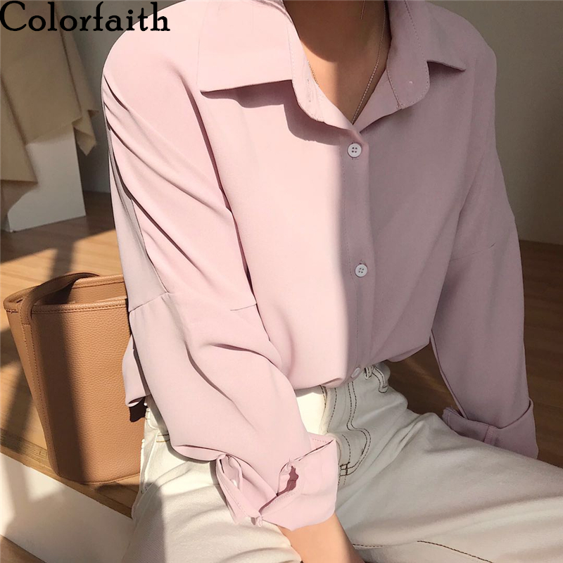 Colorfaith New 2020 Summer Women's Blouse Solid Multi Colors Lapel Single-breasted Elegant Casual Loose Wild Pink Tops BL1383