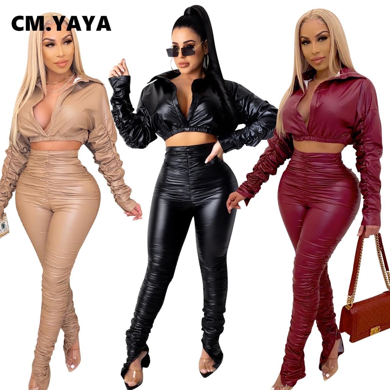 CM.YAYA Casual frauen Set faltig PU Crop Top Hosen Trainingsanzug Fitness Zwei 2 Stück Set Outfit