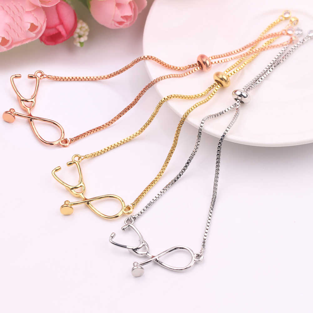 Charm Stethoscope bracelets adjustable Box Chain 3 colors Women bracelet special Medical Jewlery For Women doctor Nurse friends