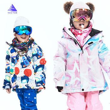 2020 nowe grube ciepłe kurtki narciarskie dla dzieci wiatroszczelne wodoodporne kurtki narciarskie spodnie snowboardowe zimowe chłopcy Outdoor Sports Cloth tanie i dobre opinie VECTOR CN (pochodzenie) POLIESTER NYLON COTTON Dziewczyny Z kapturem Skiing Dobrze pasuje do rozmiaru wybierz swój normalny rozmiar