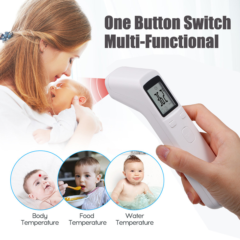 White Forehead Thermometer Infrared Thermometer Non-Contact Digital Forehead Thermometer LCD Backlight Temperature Meter Laser