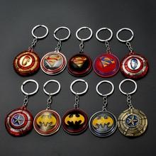 цены на TEH Avengers Captain America Rotating Shield Pendant Keychains Iron Man Batman Superman Metal Keyring For Men Car Women Bag Gift  в интернет-магазинах