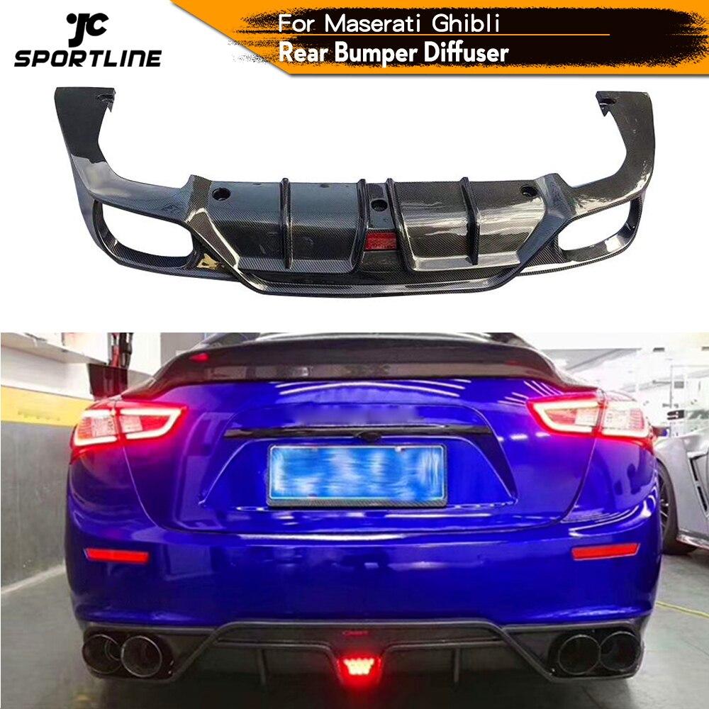 Q4 ためマセラティ用ジブリs Q4 セダン 4 ドア 2014 - 2017 炭素繊維の車のリアバンパーディフューザーリップスポイラーライト