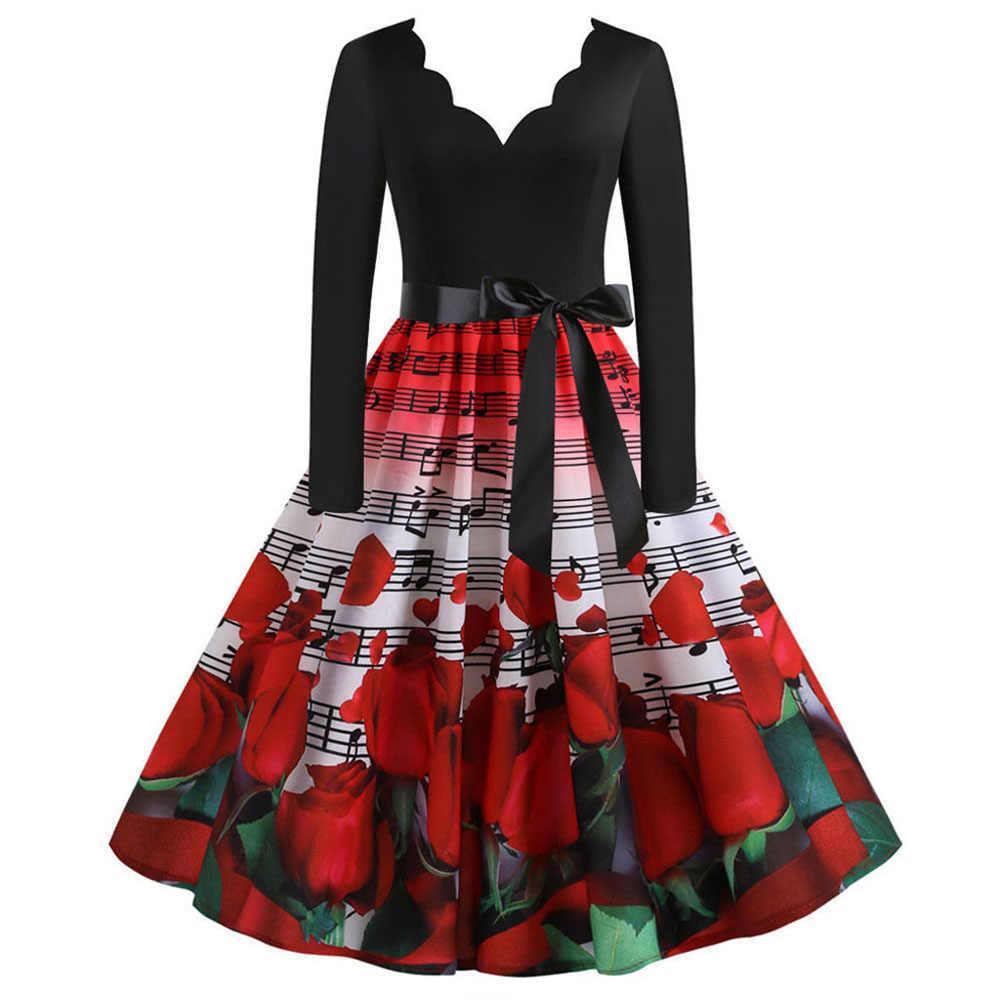 Robe Vintage femmes à manches longues élégant nouvel an robe 50 60S Rockabilly fête robes d'hiver noir Pinup Vestido grande taille 3XL