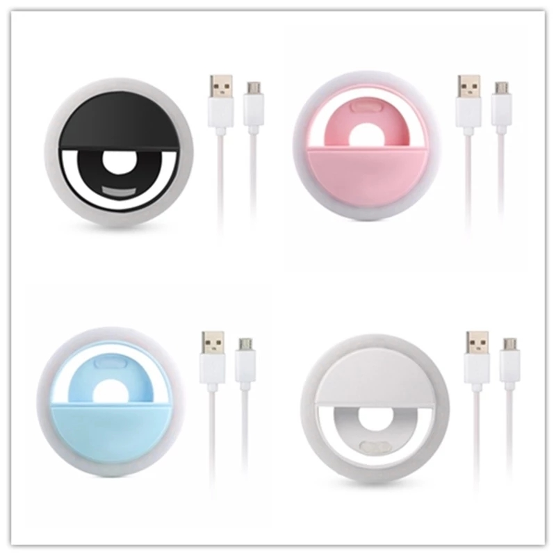 Dropshipping Selfie LED Ring Flash Light Portable Mobile Phone Lamp Luminous Clip For iPhone Xiaomi Samsung  Huawei Phones