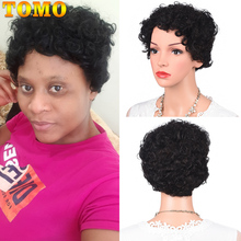 Wig Short TOMO Curly for Women Full-Mahine Made-Wigs Afro Bob Cosplay Kinky Pixie-Cut