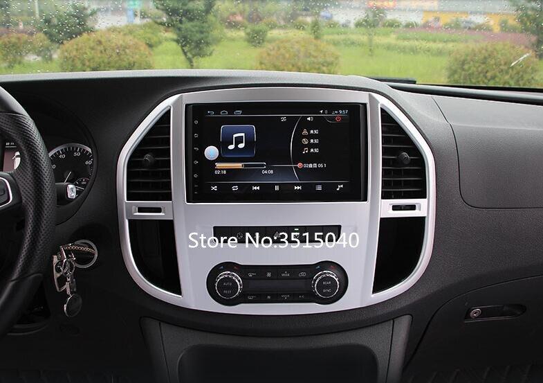 Pour Mercedes Benz Vito 2017 1PC argent ABS Chrome voiture panneau de commande de Navigation intérieure climatiseur sortie cadre garniture