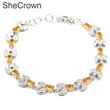 12x10mm Fantastic Golden Citrine SheCrown Ladies Present Silver Bracelet 8.0 -9.0in