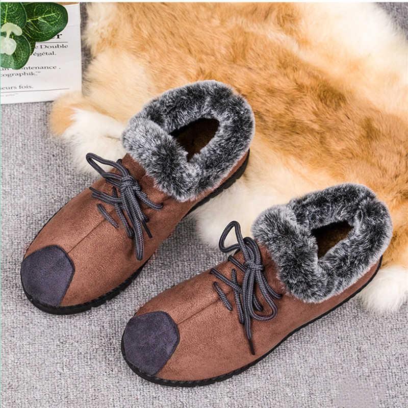 KARINLUNA yeni Dropshipping sıcak satış Patchwork ayak bileği kar botları kadın 2019 rahat Platform kürk botları bayan alçak topuk ayakkabı kadın