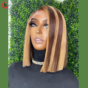 KUNGANG Highlight 4*4 lace closure wig Bob Human Hair Wigs Brazilian Front Wigs 150% Density With Baby Hair Non-Remy 3