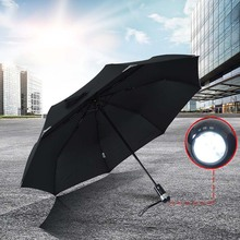 New monochrome mens convenient steel skeleton folding Umbrellas innovative LED laser flashlight free shipping sale 3