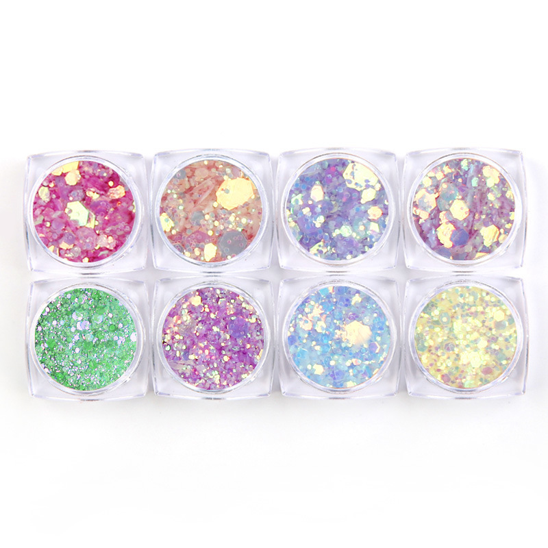 Nail Sequins 8 Colors Symphony Glitter Separate Sequins Symphony Nails Light Change Sequins Nail Stickers Sequins Glitter 8pcs in Nail Glitter from Beauty Health