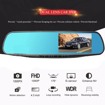 3.5 inch Car DVR Mirror Car Dvr Camera HD 1080P Rear View Mirror Digital Video Recorder Dual Lens Auto Dash Cam image