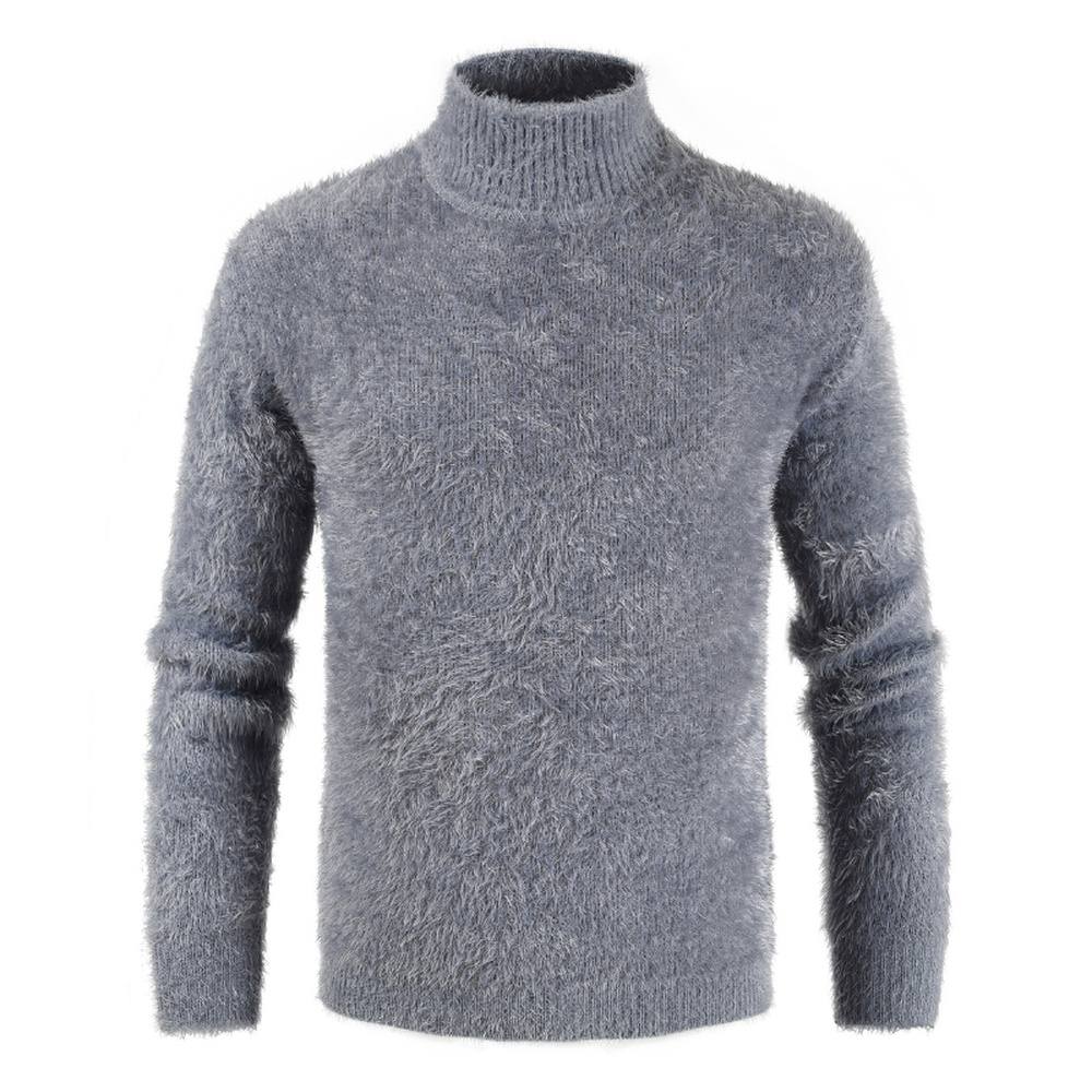 Men 2019 Winter High Neck Thick Warm Sweater Pullovers Turtleneck Pattern Solid Sea Horse Hair Knitwear Sweater Top Clothes