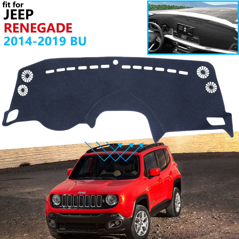 Dashboard Cover Protective Pad For Jeep Renegade 2014~2019 BU Trailhawk Car Accessories Dash Board Sunshade Carpet 2017 2018