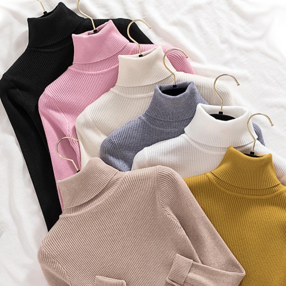 Длинный рукав теплый вязаный свитер женский пуловер 2020 корейский оверсайз Водолазка Топ джемпер однотонная эластичная облегающая одежда