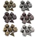 Многогранные металлические игральные кости, набор из 7 предметов с черной сумкой для ролевых игр DnD MTG, древняя медь, золото, серебро
