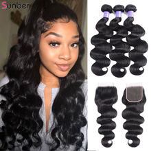 Sunber Hair Brazilian Body Wave With Closure High Ratio 100% Human Remy Hair extension Bundles With Closure