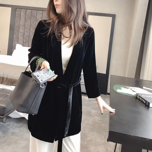 Peonfly New 2020 Autumn Women's Velvet Blazers Jacket with Sashes Female Notched Outerwear Office Ladies Coat Loose Black Blazer 3