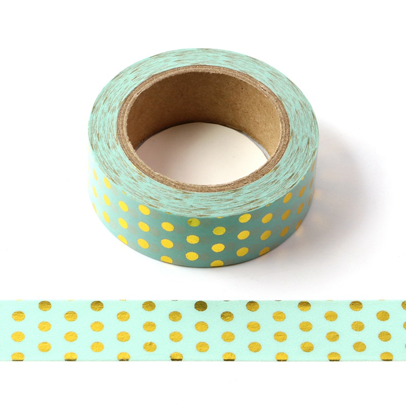 10M Decorative Gold Foil Washi Tape Mint Dots DIY Scrapbooking Sticker Label Japanese Masking Tape School Office Supply